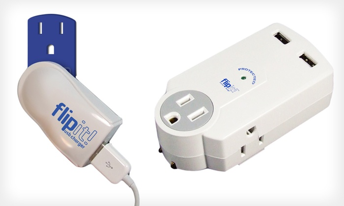FlipIt! USB Charger and Surge Protector: FlipIt! Plugless USB Charger or Travel Surge Protector (Up to 56% Off)