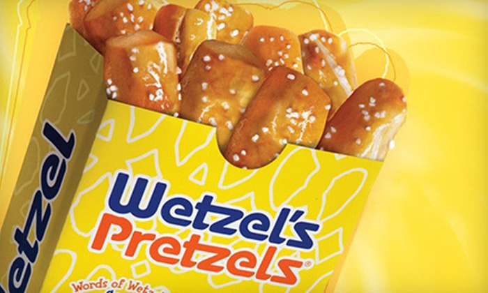 Wetzel's Pretzels - Multiple Locations: $10 for Five Vouchers for Pretzels, Hot Dogs, and Snacks at Wetzel's Pretzels ($20 Value)