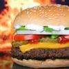 Riesenburger mit Pommes frites