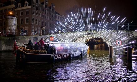 Boottour tijdens Amsterdam Light Festival incl. open bar voor 120 personen bij Boat Amsterdam
