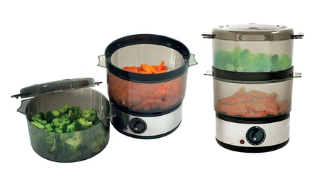 Food Steamer with Timer and Two 8-Cup Steam Trays