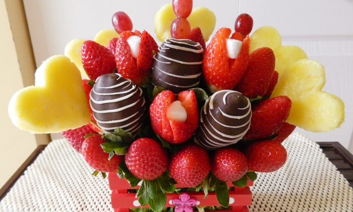 Delightful Fruit Flowers - IN-STORE PICKUP: $35 for a Valentine's Day Fruit Bouquet at Delightful Fruit Flowers ($65 Value)