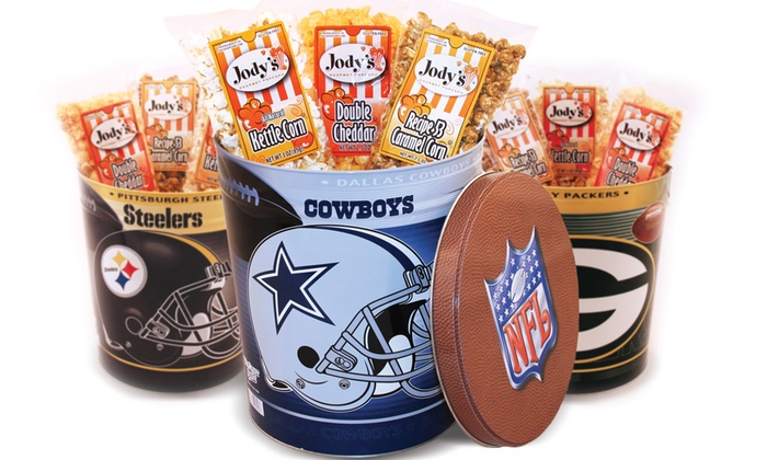 Jody's Gourmet Popcorn: $31 for 7 Bags of GourmetPopcorn in 3-Gallon NFL Tin from Jody's Gourmet Popcorn ($44.95 Value). 32 Teams Available.