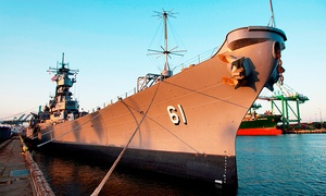"USS IOWA: General Admission for Two or Four Adults, or Dual or Family Membership at USS ""IOWA"" (Up to 39% Off)"