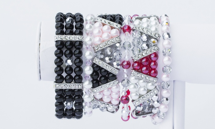 Prima Bead: Beaded or Pearl and Rhinestone Stretch Bracelet Kit with Free Shipping from Prima Bead (58% Off)