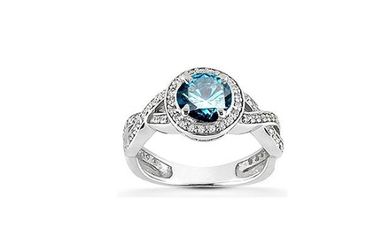 1.00 CTTW Blue Diamond Halo Engagement Ring in 14-Karat White Gold
