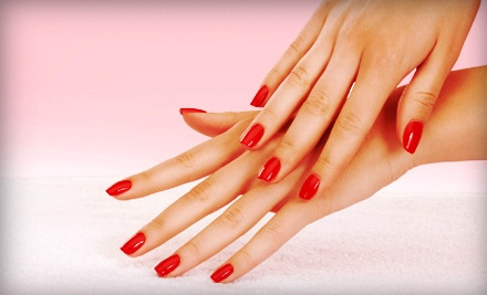 Gel Manicure with Paraffin Hand Treatment or Mini Pedicure at Salon EveLeila (50% Off)
