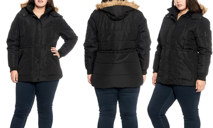 f3cb2857c6f Plus-Size Winter Jacket with Sherpa-Lined