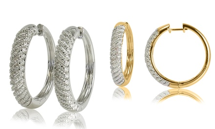 1/10 CTTW Diamond Hoop Earrings