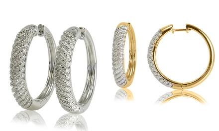 1/10 CTTW Diamond Hoop Earrings