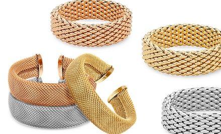 Mesh Bracelets in Stainless Steel or 18K Gold- or 18K Rose-Gold-Plating