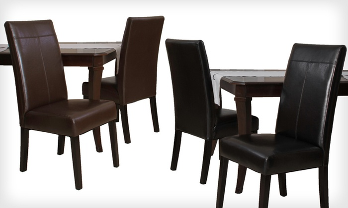 Emilia Faux Leather Dining-Chair Set: $99 for Two Emilia Faux Leather Dining Chairs in Black or Chocolate-Brown ($249.99 List Price). Free Shipping.