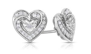1/4 Cttw Diamond Heart Earrings