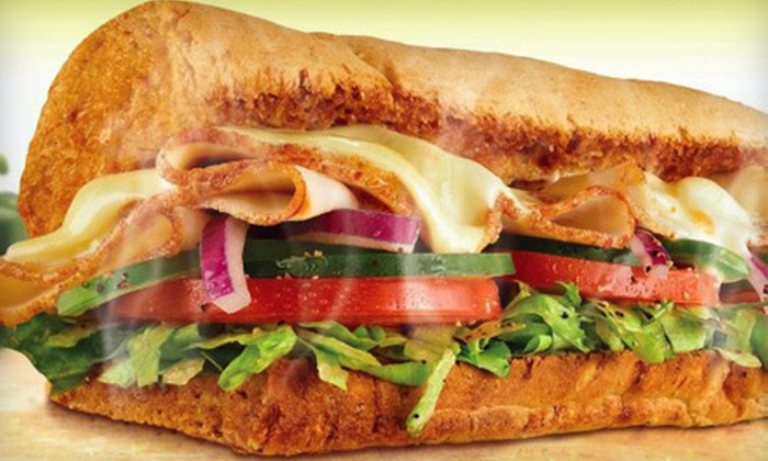 Subway - Freehold: Meal for Two with Footlong Subs, Chips and Drinks or Five Footlong Subs at Subway (Up to 59% Off)