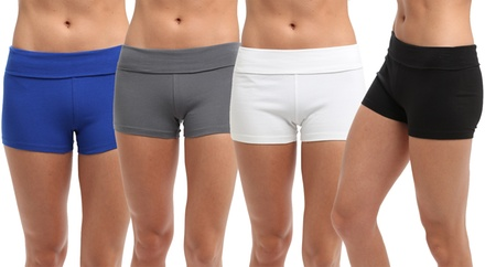 Women's Solid Yoga Shorts (4-Pack)