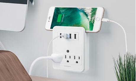 Merkury Innovations 4.2A USB Wall Plate with Built-In Phone Mount