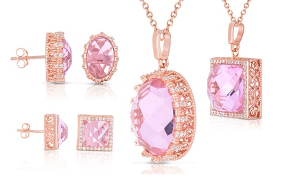 Pink and White Diamond Necklaces or Earrings in Sterling Silver