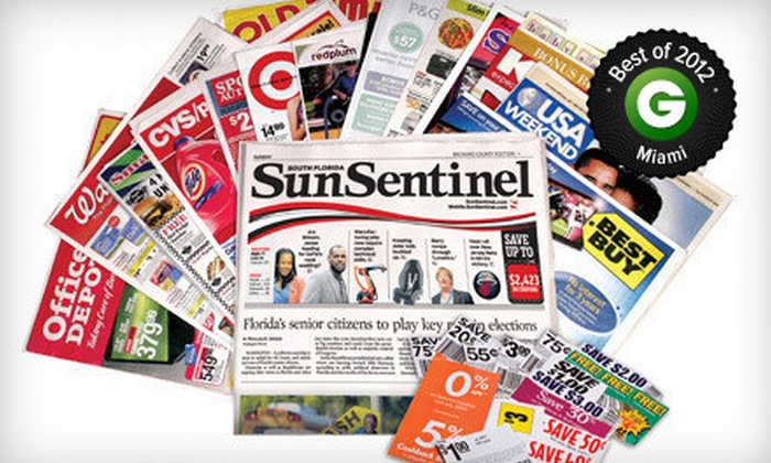 "<i>Sun Sentinel</i> - Miami: $10 for a One-Year Sunday Subscription to the ""Sun Sentinel"" ($208 Value)"
