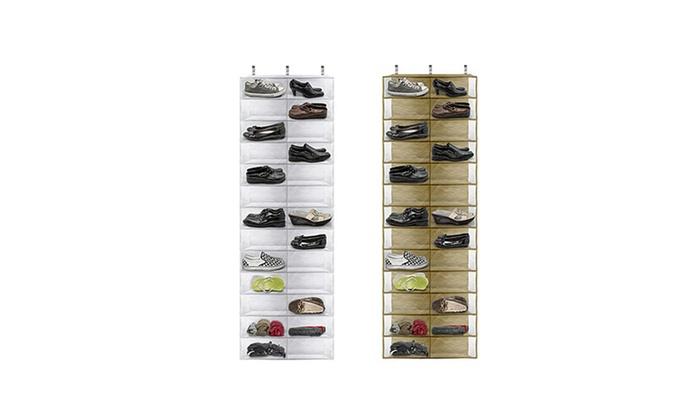 26-Pocket Over-the-Door Shoe Organizer: 26-Pocket Over-the-Door Shoe Organizer in Beige or White. Free Returns.