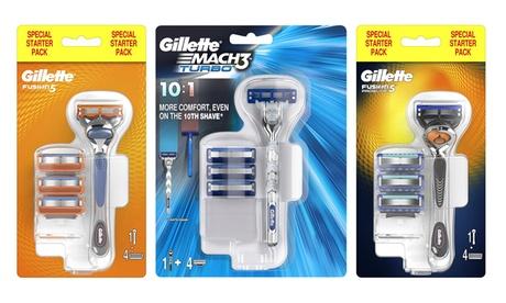 Four Gilette Fusion5, ProGlide or Mach 3 Blades Starter Pack