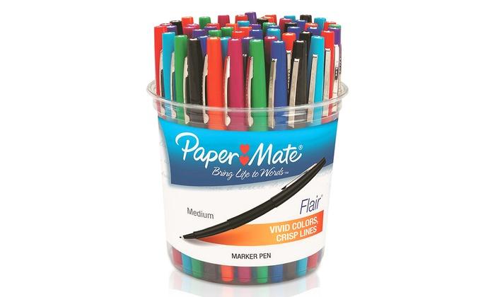 Papermate 28503 Liquid Flair Marker Pen TRS Barrel 8 Asstd Ink Colors Med  8/pk