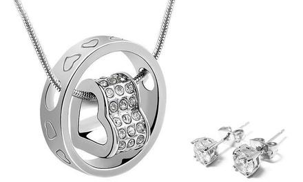 1 o 2 set Heart Duo con collana e orecchini con cristalli Swarovski®