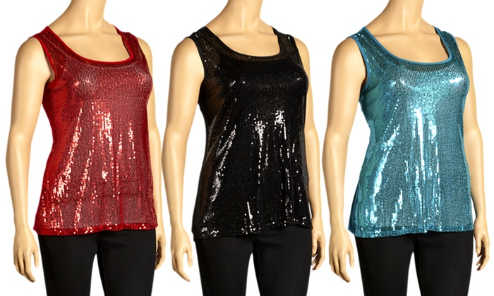 Plus-Size Sequin Tops: Plus-Size Sequin Tops. Multiple Colors Available. Free Returns.