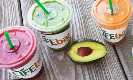 Superfood Smoothies and Organic Juices at Life Bar (Up to 42% Off). Two Options Available.