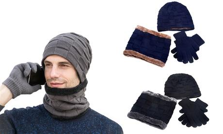 1 o 2 set con berretto, scaldacollo e guanti, disponibili in 3 colori