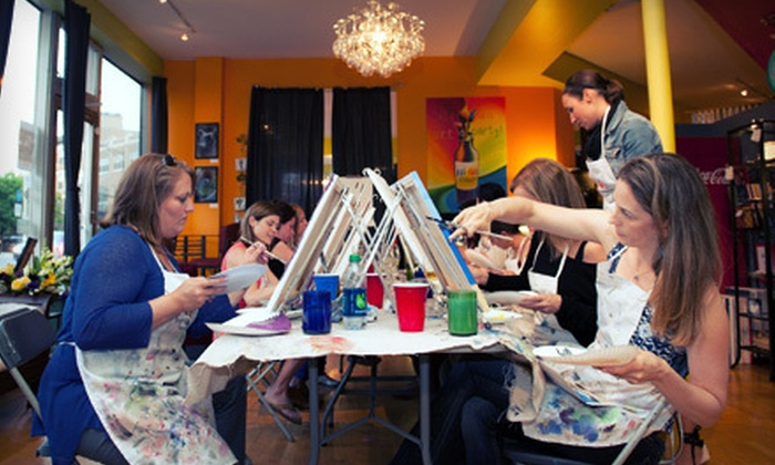 Bottle & Bottega Evanston: $40 for a Guided Painting Party for Two from Bottle & Bottega (Up to $80 Value)