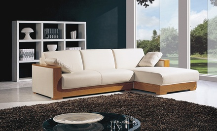 Caliente bonded white leather sectional sofa groupon for Sectional sofa groupon