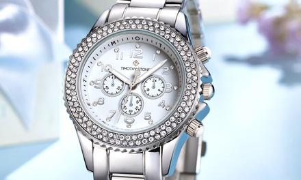 Montre de la marque Timothy Stone ornées de 130 cristaux Swarovski®, collection Amber, livraison offerte