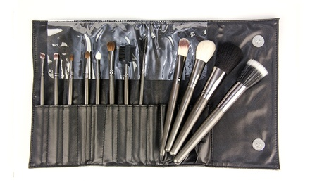 12-Piece Professional Gunmetal Cosmetic Brush Set