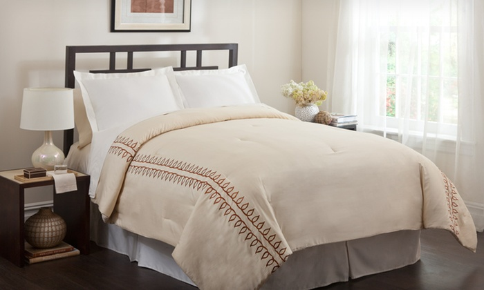 300-Thread-Count Comforter Set: 300-Thread-Count Three- or Four-Piece Comforter Set (Up to 66% Off). Multiple Sizes and Colors Available.