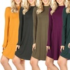 Women's Long Sleeve Mock Neck Dress. Plus Sizes Available.