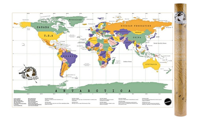 Gold Foil World Scratch Map  Groupon