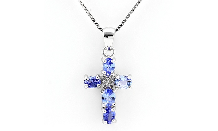 Groupon Goods: Tanzanite Cross Necklace and Pendant for R799.99 Including Delivery (71% Off)