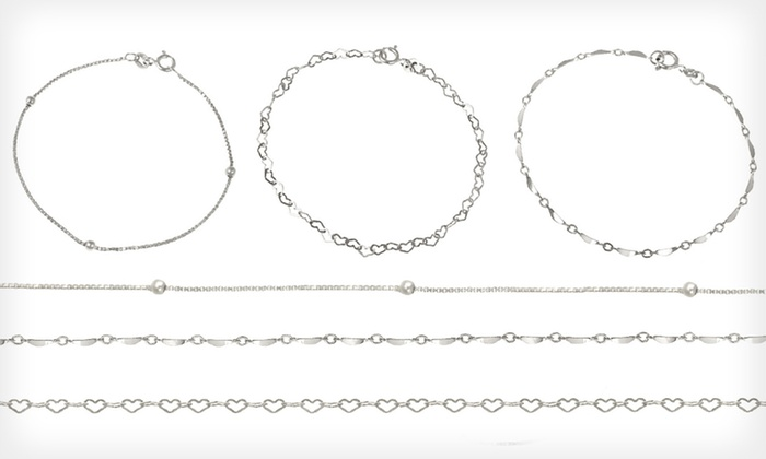 Sterling Silver Chain Bracelet Sets: $15 for a Set of Three Sterling Silver Bracelets ($59.99 List Price). Two Options Available. Free Shipping and Returns.
