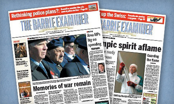"""Barrie Examiner - Barrie: $79 for a 52-Week Tuesday–Saturday Subscription to the """"Barrie Examiner"""" ($163.77 Value)"""