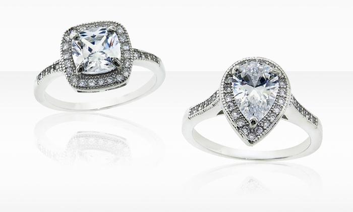 Sterling Silver and Cubic Zirconia Halo Ring: $17.99 for Sterling Silver & Cubic Zirconia Halo Ring (Up to $199.99 List Price). Multiple Cuts. Free Shipping & Returns