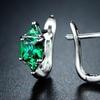 3.00 CTTW Princess Cut Emerald Hoop Earrings