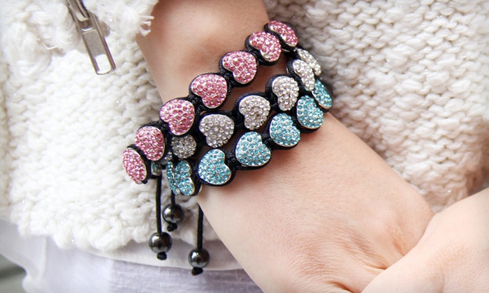 Stackable Crystal Heart Bracelets: $10 for Heart Charm or Crystal Hearts and Gemstones Bracelet (Up to 75% Off). Multiple Colors Available. Free Returns.