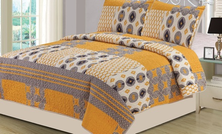 groupon daily deal - 3-Piece Quilt Set. Multiple Sizes from $29.99–$32.99. Free Returns.