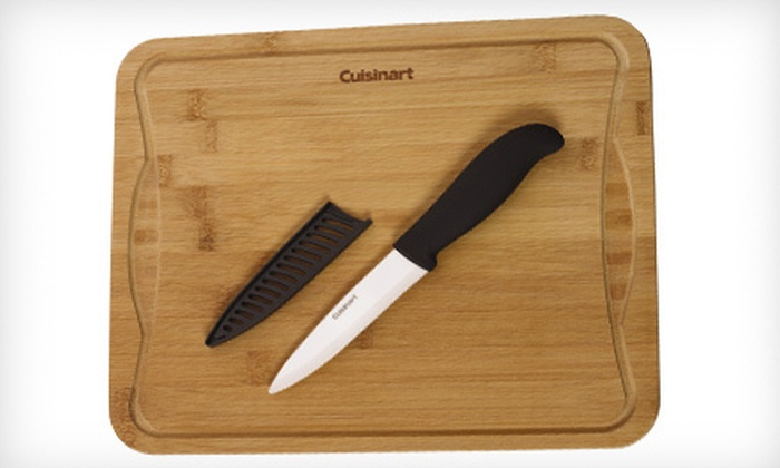 Cuisinart Cutting Board and Knife Set : $22 for a Three-Piece Cuisinart Bamboo Cutting-Board Set with Ceramic Knife and Sheath ($42.99 List Price). Free Shipping.