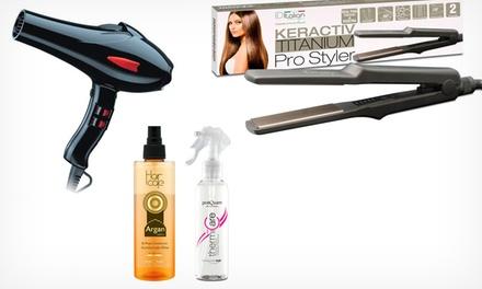 Pack de plancha profesional de pelo y protector térmico o de secador profesional y acondicionador por 29,90 €