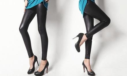 1x oder 2x Leggings in Leder-Optik in Schwarz (bis zu 75% sparen*)