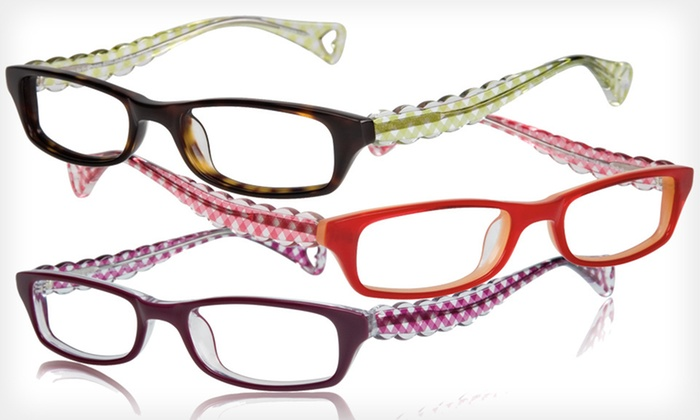 Itsy Bitsy Go Go Gingham Frames: $39 for Itsy Bitsy Go Go Gingham Optical Frames by Betsey Johnson ($195 List Price). Three Colors Available.