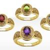 14K Gold-Plated Genuine Gemstone Rings