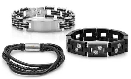 Men's Genuine-Leather and Stainless Steel Bracelets from $18.99–$23.99