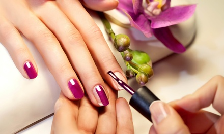 Classic or Gelish Mani Pedi with Optional Eyebrow Threading at Eternal Lotus Ladies Salon and Spa (Up to 51% Off)
